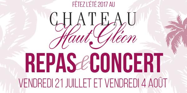 Bandeau soirée château Haut Gléon 2017 les vendredis 21 Juillet & 4 Aout